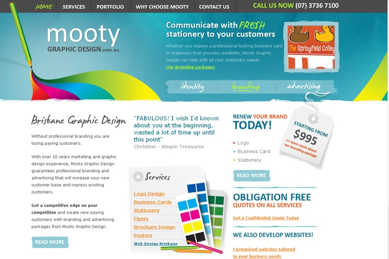 Screenshot on Mooty Graphic Design