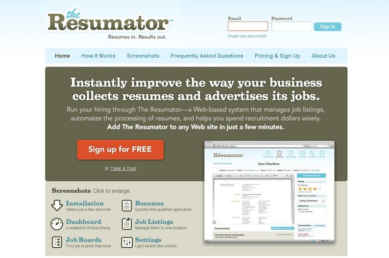 Web Design Inspiration The Resumator Designsector